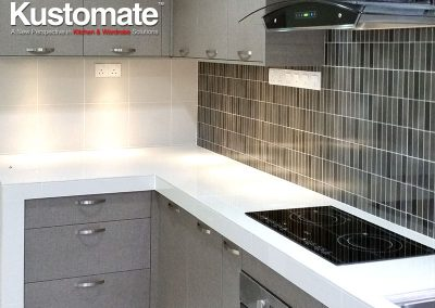 Concrete Kitchen Countertops With Melamine Cabinets - Kitchen View