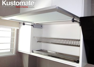 Matt Glass Open Top Kitchen Cabinet With Soft Close System
