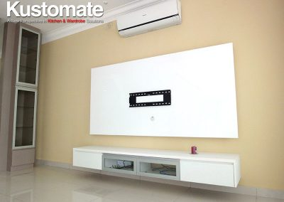 Solid White TV Wall Cabinet