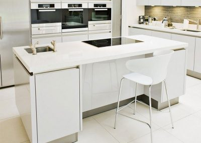 Solid Surface White Island Kitchen Design Ideas