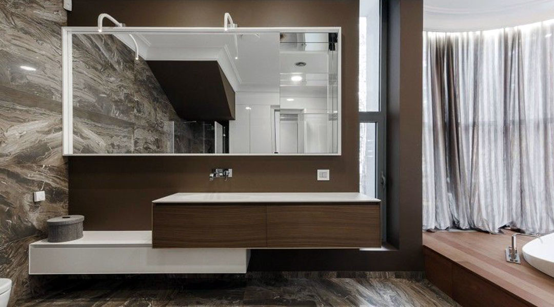 Melamine Board and Solid Surface Bathroom Cabinet