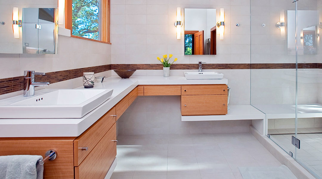 White Solid Surface Bathroom Countertop and Drawer Style Melamine Cabinet