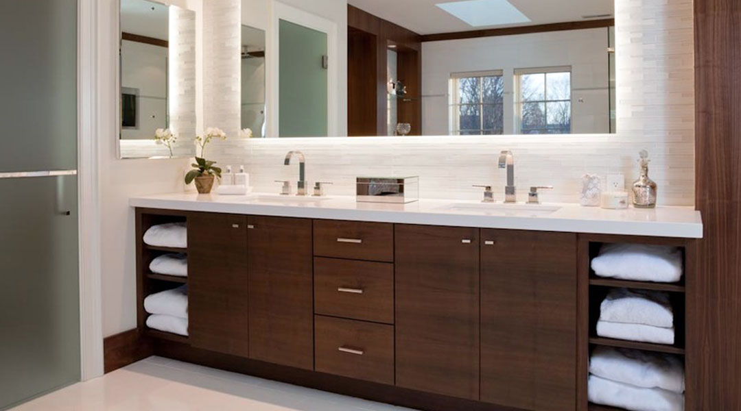 Double Sinks Solid Surface Bathroom Countertop Built-in Cabinet