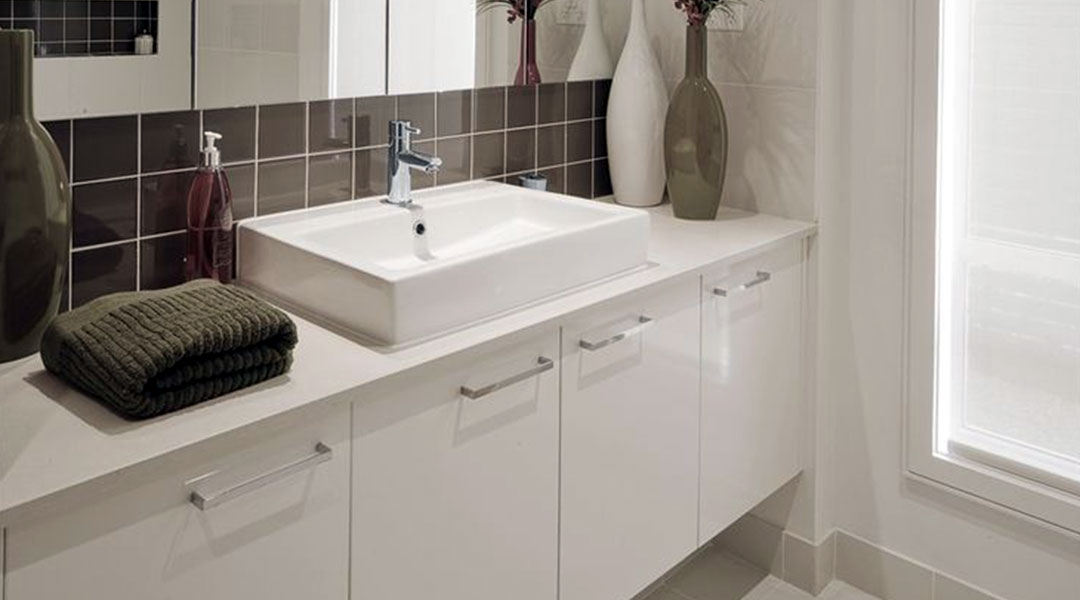 Pure White Solid Surface Melamine Bathroom Cabinet