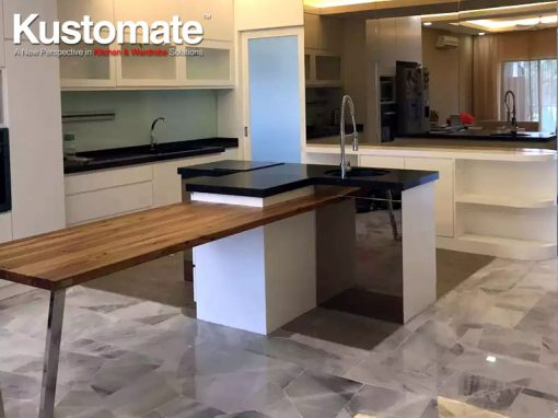 T Shape Island Kitchen Cabinetry & TV Wall Cabinet