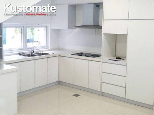 White Melamine Kitchen Cabinet Design Build For Dry & Wet Kitchen